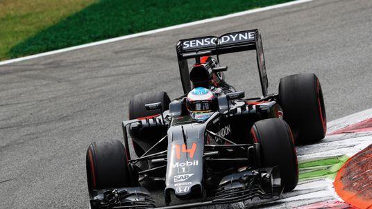 MONZA, ITALY - SEPTEMBER 04: Fernando Alonso of Spain driving the (14) McLaren Honda Formula 1 Team McLaren MP4-31 Honda RA616H Hybrid turbo on track durin