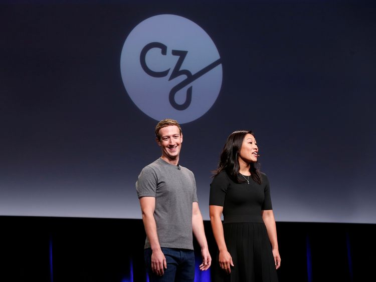 "Priscilla Chan (R) and her husband Mark Zuckerberg announce the Chan Zuckerberg Initiative to ""cure, prevent or manage all disease"" by the end of the century"