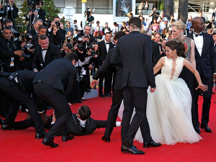 Sediuk also crawled under America Ferrera's dress during a premiere in Cannes