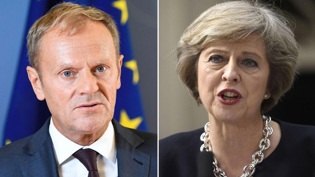 Donald Tusk and Theresa May
