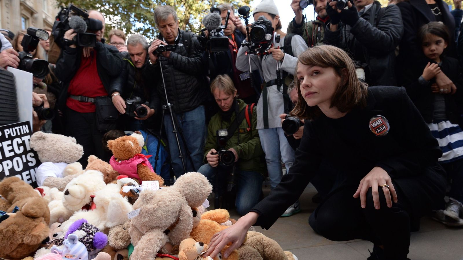 Mulligan brought one of her daughter's teddys to add to the protest
