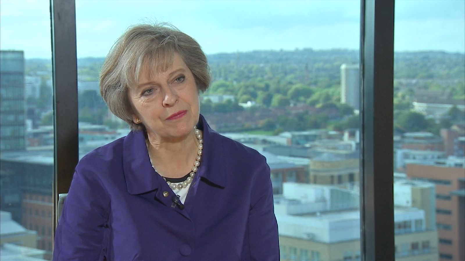 Theresa May talks to Faisal Islam at the Tory Party conference 2016