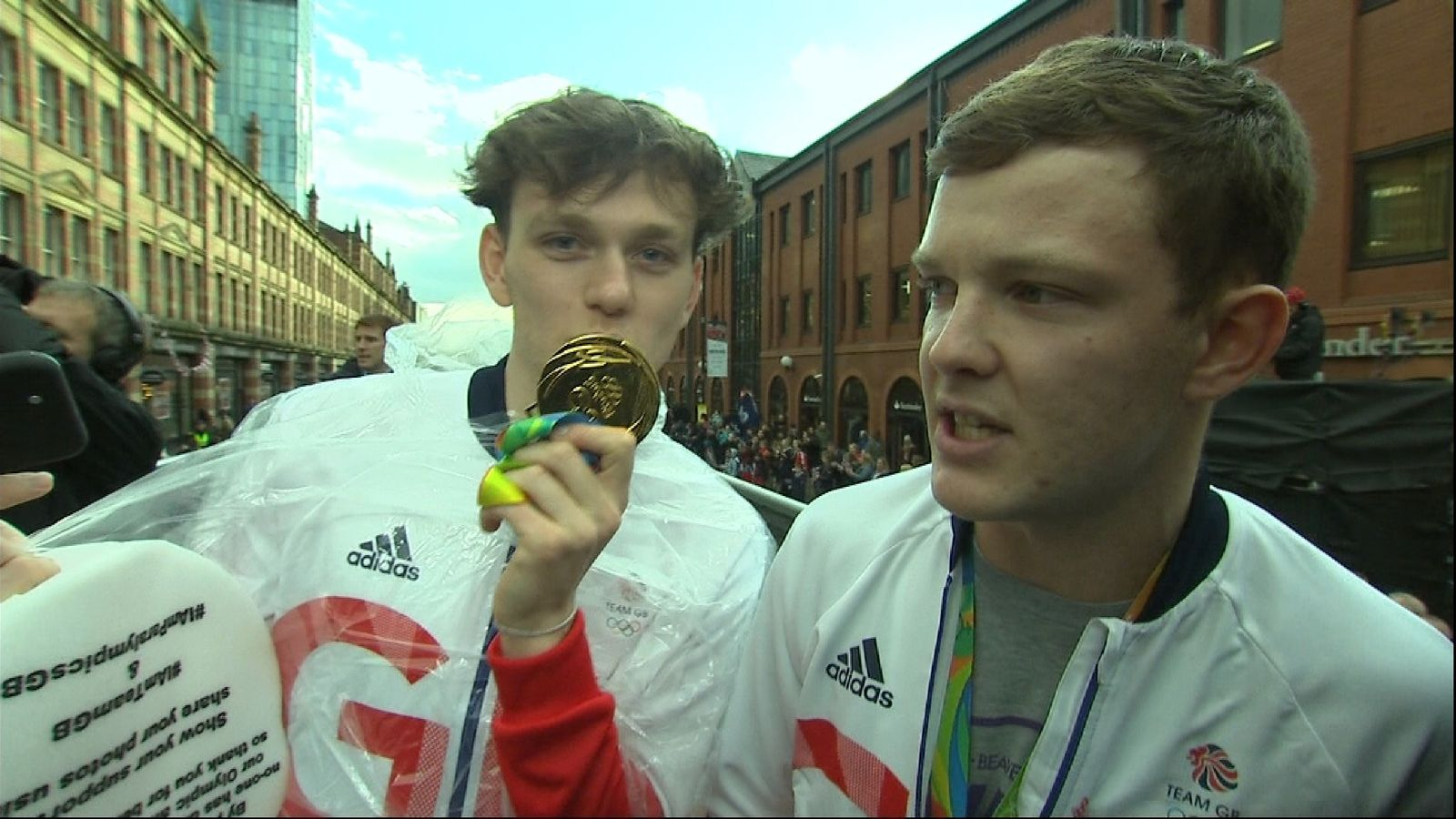 Two blaggers get on board the Team GB Olympic celebration bus