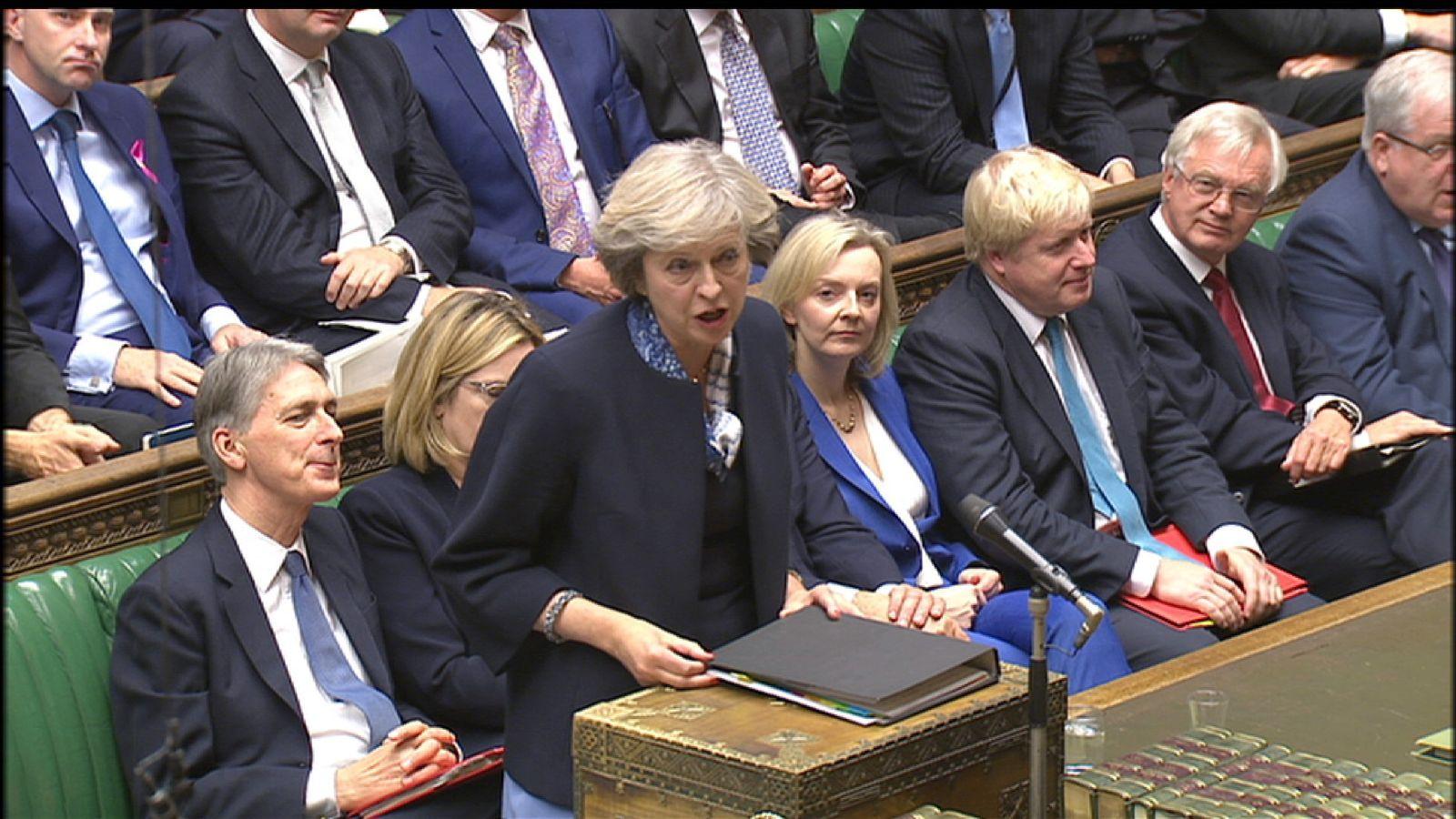 Theresa May at PMQs in October 2016