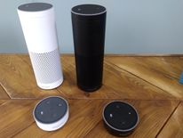 The Amazon Echo, which responds to voice commands