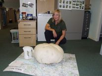 Fiona Wishart with a 10.6kg puffball mushroom she found near Polmont.