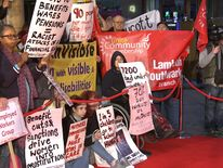 Welfare campaigners at premiere of I, Daniel Blake in central London
