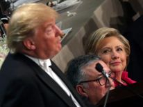 Mrs Clinton clearly wasn't amused at certain points in Mr Trump's speech