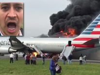 Hector Gustavo Cardenas reacts after escaping from the burning plane