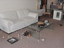 An image of Gable Tostee's flat after Ms Wright had fallen to her death