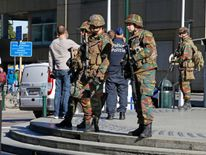 Police and soldiers were on patrol after a bomb alert at Gare du Nord