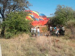 The balloon crashed into rocks. Pic Hartbeespoort Emergency Rescue Unit