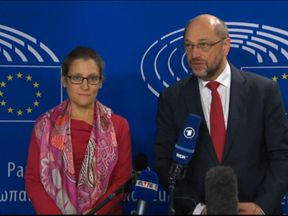 Chrystia Freeland and Martin Schulz brief reporters in Brussels