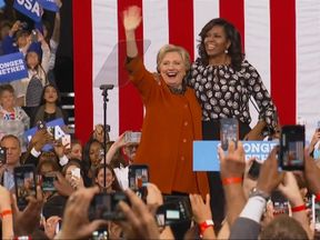 The First Lady and former First Lady appear on stage together for the first time