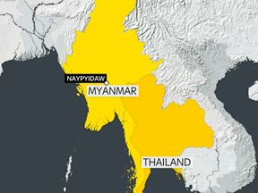 Authorities said the crash happened off the west coast of Myanmar