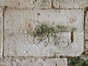 "Undated handout photo issued by Historic England of markings in Tithe Barn, Bradford on Avon, Wiltshire. The public are being asked to help record strange carvings known as ""witches' marks"" found in medieval churches, houses and barns"