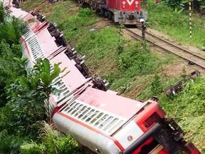 Several carriages swung off the track as the train derailed