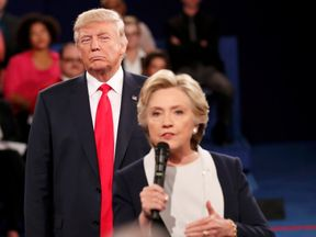 Donald Trump and Hillary Clinton during their second presidential TV debate