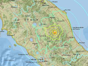 The tremors were felt across a large swathe of central Italy. Pic: US Geological Survey