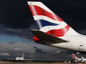 A British Airways aircraft taxis at Heathrow