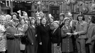 Coronation Street stars during a Christmas Party sequence at the Rovers Return in 1974. Alexander is seventh from the left.