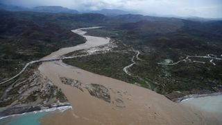 A flooded river in Jeremie, Haiti