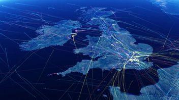 Map showing UK flight paths