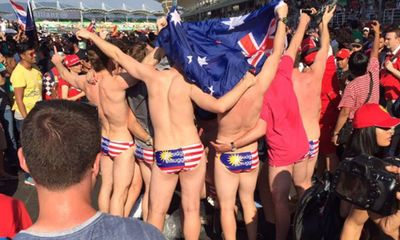 Nine Australians jailed in Malaysia for F1 'flag underpants' stunt