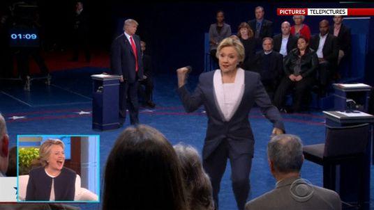 Hillary Clinton dancing with Ken Bone on Ellen Degenerese Show