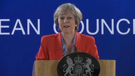 Theresa May addresses press at European Council