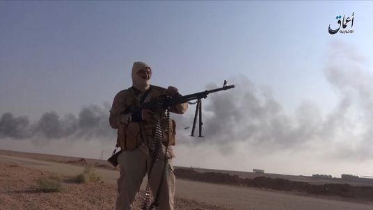 Islamic State fighters attack the town of Rutba. Pix from Amaq news agency