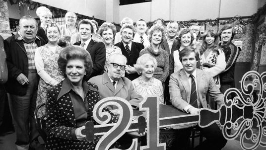 The cast of Coronation Street (including Jean Alexander third left) celebrate 21 years of the soap in 1981