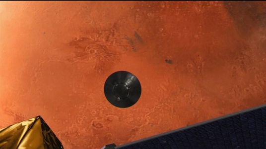 ESA simulation of the Schiaparelli probe falling to Mars