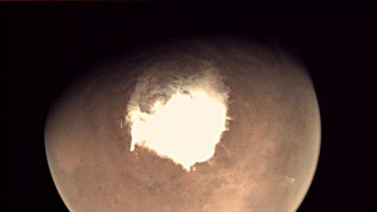 Mars as seen by the webcam on ESA's Mars Express orbiter on 16 October