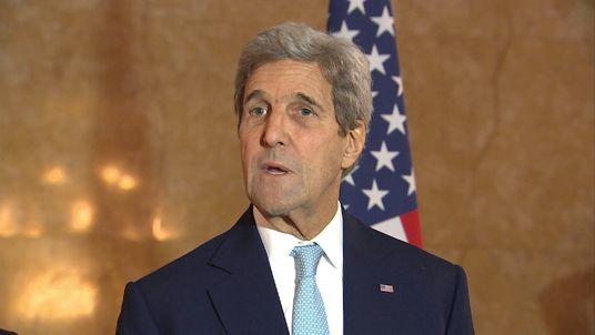 U.S. Secretary of State John Kerry speaks after crisis talks in London