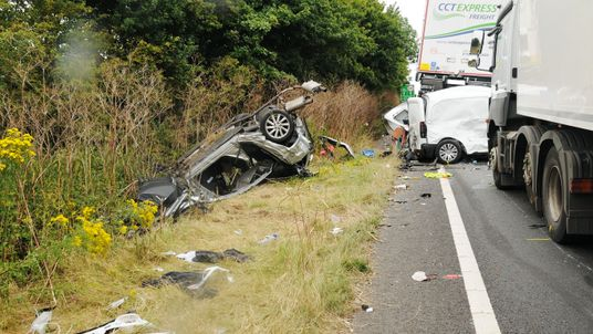 The crash scene after Kroker's lorry ploughed into a stationary queue of vehicles