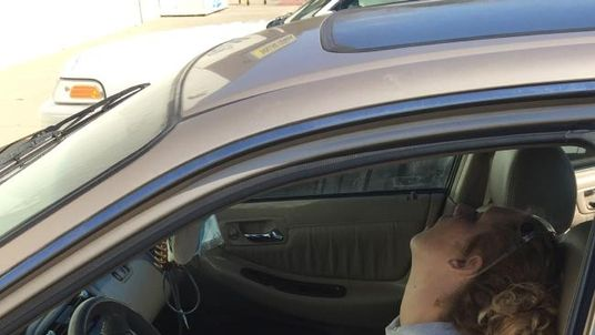 Erika Hurt is seen overdosing in her car in a photo released by police in Hope, Indiana