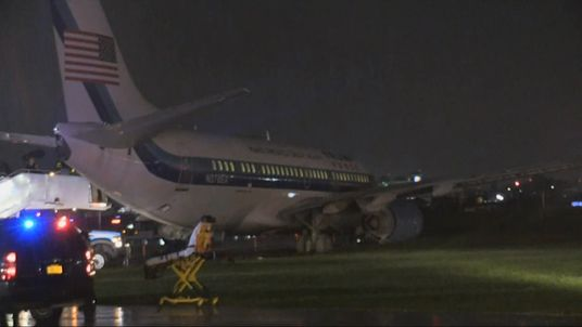 A plane carrying Mike Pence slid off the runway at LaGuardia airport