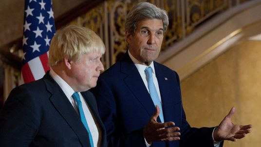 British Foreign Secretary Boris Johnson and US Secretary of State John Kerry give a joint press conference after a meeting on the situation in Syria at Lancaster House in London on October 16, 2016