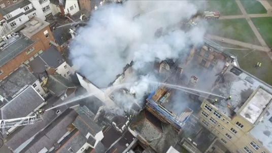 Drone footage shows fire damage to 'oldest hotel'