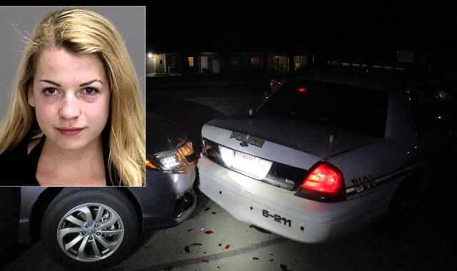 Topless selfie student crashes into Houston police car