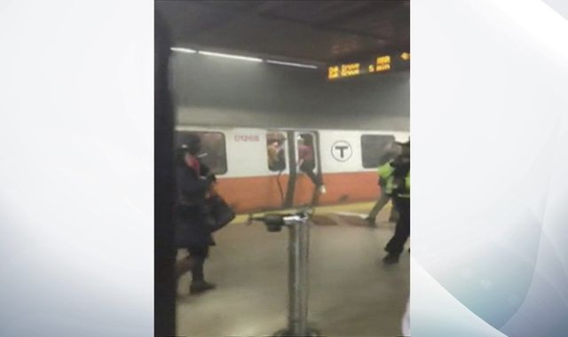 Passengers smash windows as smoke fills Boston commuter train