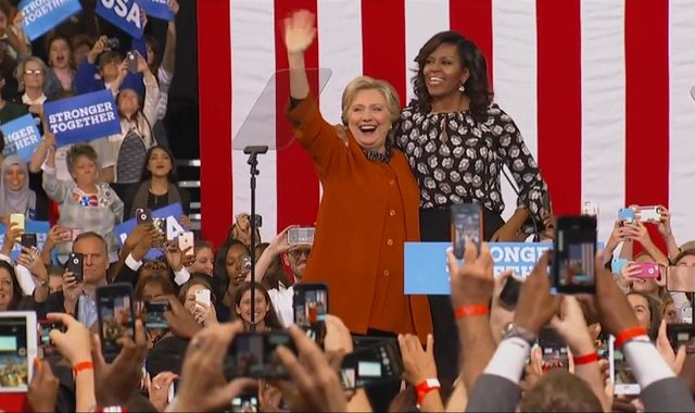First Lady Michelle Obama joins Hillary Clinton at rally for first time