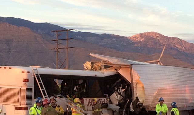 Coach and truck crash in Palm Springs,  California, leaves 13 dead