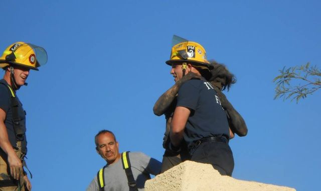 Soot-covered man rescued from chimney after losing his keys