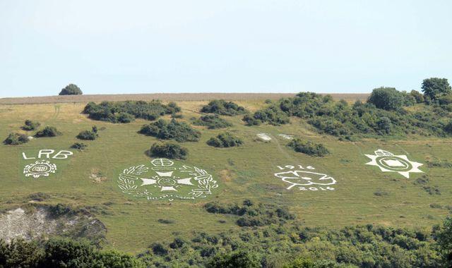 Giant poppy carved on hillside on Fovant Down