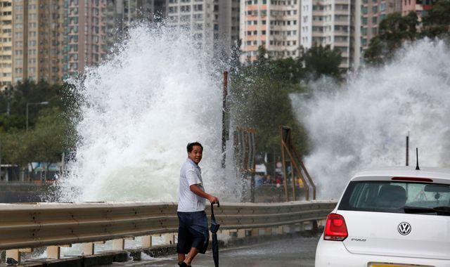 Hong Kong shuts down as Typhoon Haima sweeps in