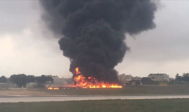 EU border agency flight crashes in flames at Malta airport
