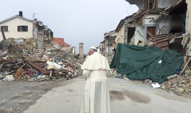 Pope makes emotion-charged visit to Italy quake zone