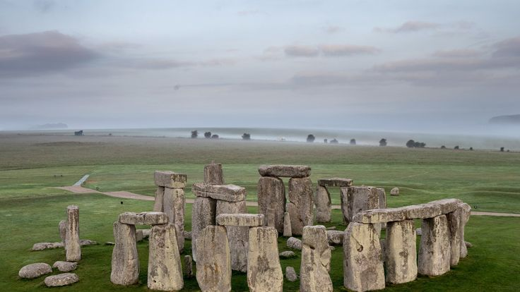 The ancient neolithic monument of Stonehenge near Amesbury, Wiltshire